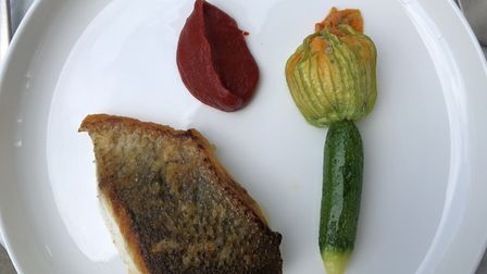 Pan-fried sea bass with courgette, crab and red pepper at the Stratford Brasserie. Picture: Emma Bar