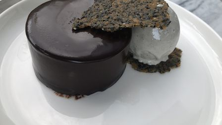 Chocolate terrine with sesame seed ice cream at the Stratford Brasserie. Picture: Emma Bartholomew