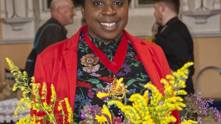 Dept Mayor of Camden Sabrina Francis at Highgate Horticultural Soc Autumn show. Picture: Nigel Sutto