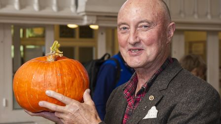 Ian Cameron with his Pumpkin at Highgate Horticultural Soc Autumn show. Picture: Nigel Sutton