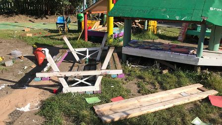 The playground was broken into three times over the last two weeks. Picture: Hackey Play Association