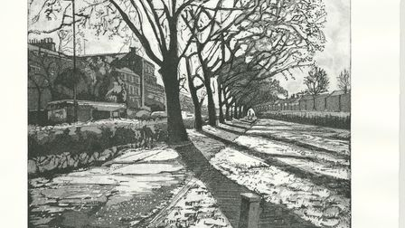 Highgate Road/Heath Frost is among works by Laura Price exhibiting at Parliament Hill Lido Cafe unti