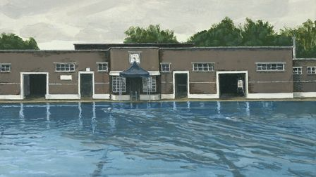 Parliament Hill Lido by Laura Price is on show at the lido's cafe until the end of October