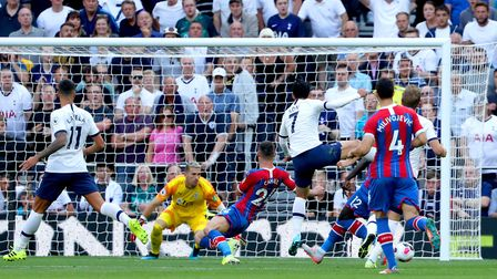 Tottenham Hotspur's Son Heung-min (third right) scores his side's first goal of the game during the