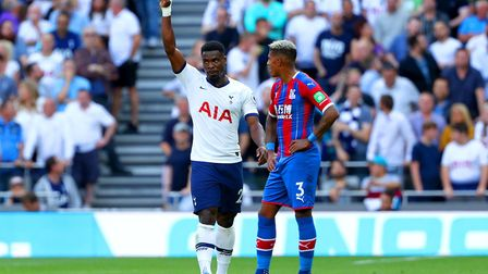 Crystal Palace's Patrick van Aanholt (right) appears dejected after scoring an own goal to put Totte