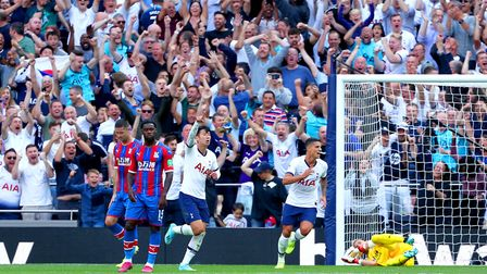 Tottenham Hotspur's Son Heung-min (third left) celebrates scoring his side's third goal of the game