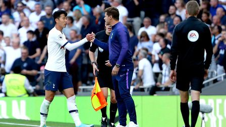 Tottenham Hotspur's Son Heung-min (left) shakes hands with manager Mauricio Pochettino