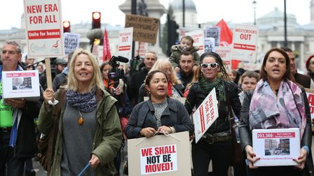 Protesters demonstrate towards Downing Street against the house price rising in the New Era Estate i