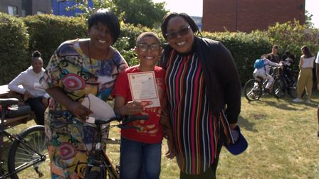 Vicky Rodrigues celebrating with youngsters and their families at the Children and Young People's Ce