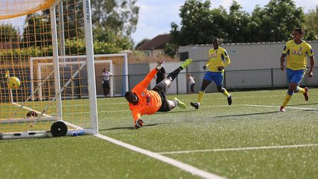 Lionel Stone (out of picture) scores for Haringey (pic George Phillipou/TGS Photo)