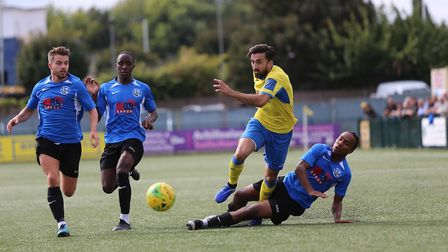 Stelios Demetriou of Haringey during Haringey Borough vs Herne Bay, Emirates FA Cup Football at Cole
