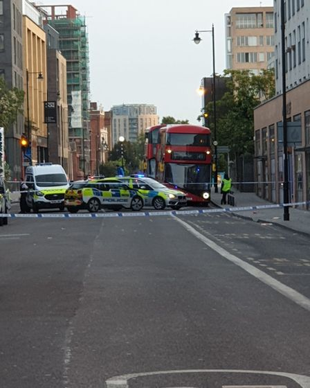 The scene in Kingsland Road. Picture: Tony Chung