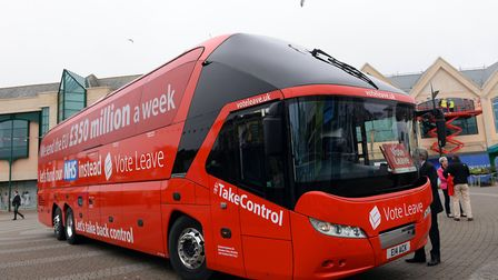 The Vote Leave campaign bus is parked in Truro, Cornwall. Photograph: Stefan Rousseau/PA.