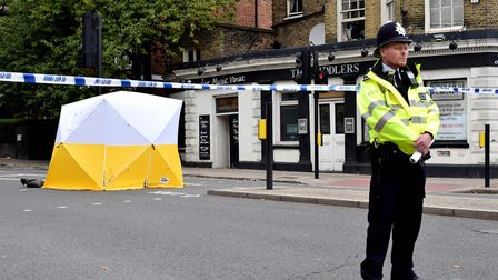 Police cordon and forensic tent Prince of Wales Rd junction Malden Rd NW5 09.09.19. Picture: Polly H