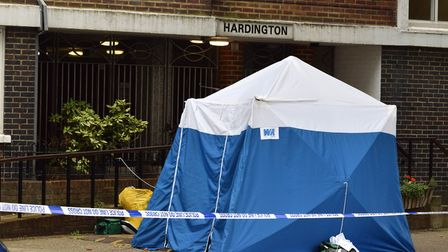 Police tent outside Hardington block Belmont St NW1 on 09.09.19. Picture: Polly Hancock