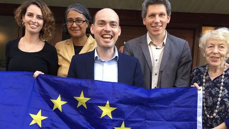 Matthew Sanders (centre) with fellow Lib Dems after he was chosen to fight Hampstead and Kilburn aat