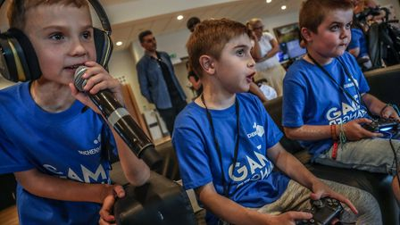Youngsters in action at the Duchenne UK Gaming Day at Allianz Park, home of Saracens (pic Saracens R