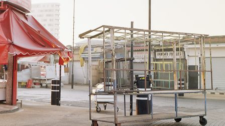 Setting up stalls at the market. Picture: Tamara Stoll