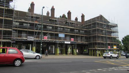 Arcade House in the Hampstead Garden Suburb, which is currently undergoing external renovations. Pic