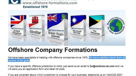 BC Business Centrum Ltd offers a range of offshore company formation packages for a fee.