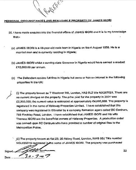 Part of a police report into James Ibori's money-laundering activities, originally leaked to SaharaR