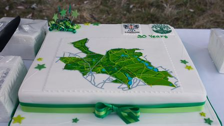 A special cake in the shape of Hampstead Heath to mark 30 years since it was taken over by the City