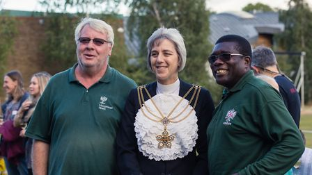 City of London Sheriff Liz Green talks to Heath rangers Terry Holly and Charles Cofie (right). Pictu
