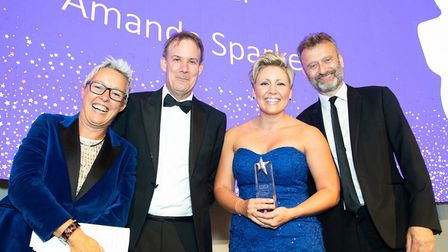 Caroline Clarke and Hugh Dennis with two attendees at the Royal Free's Oscars on September 11. Pictu
