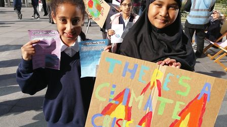 Netley Primary School's climate strike at Regent's Place Plaza. Pictured, Marwa and Taskia from Year