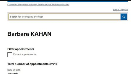 One of several sets of Companies House records bearing Barbara Kahan's name. Among the firms she was