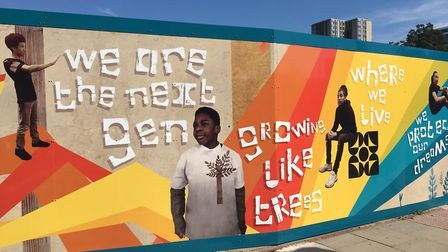 Kids at the Winch have helped create murals on 100 Avenue Road's hoardings. Picture: The Winch
