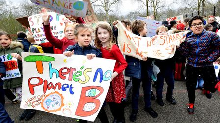 Pupils took to Highbury Fields ealier in the year for a Climate demonstration. Picture: POLLY HANCOC