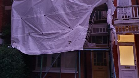 Scaffolding 'just appeared' outside of Carl Ryan's Crouch End home. Picture; Carl Ryan