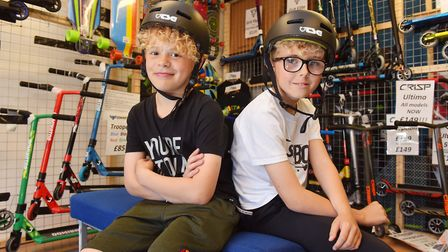 Scooter boys Ethan Knights and Alfie Ashton are campaigning for people to use crash helmets when the