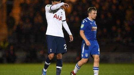 Tottenham Hotspur's Dele Alli looks dejected during the Carabao Cup, Third Round match at the JobSer