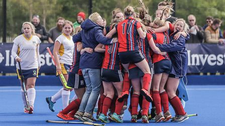 Hampstead & Westminster's women celebrate after earning promotion (pic Mark Clews)