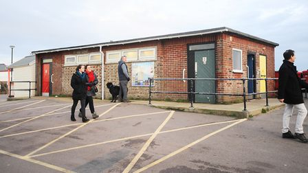 The public toilets near Southwold pier, which a group of elderly tourists were left unable to access