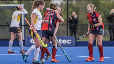 Sarah Robertson (right) celebrates a Hampstead & Westminster goal during their promotion play-off su