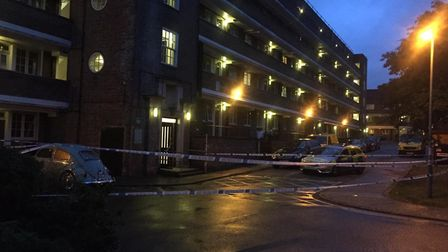 A police cordon at Constable House where two men were stabbed. Picture: Supplied