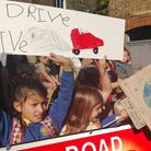 Protesters in Sheep Lane, London Fields, who say the road is a rat run with too much air pollution.