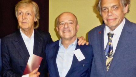 David Stark with Sir Paul McCartney and music publisher Steve Lewis at LIPA in July.