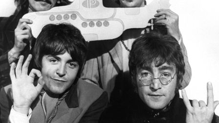 The Beatles in a press photocall for the Yellow Submarine film in 1967, two years before the recordi