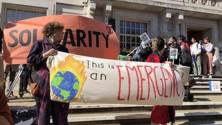 The climate emergency rally outside Hackney Town Hall. Picture: Emma Bartholomew