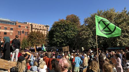 Hundreds of people turned out to support the climate emergency rally outside Hackney Town Hall. Pict