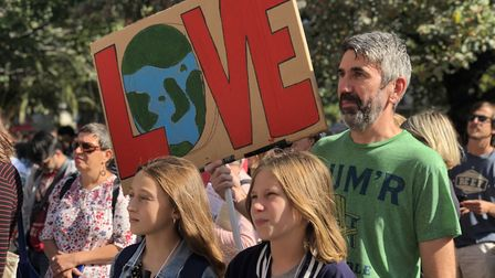 Hundreds of people turned up to support the climate emergency rally outside Hackney Town Hall. Pictu