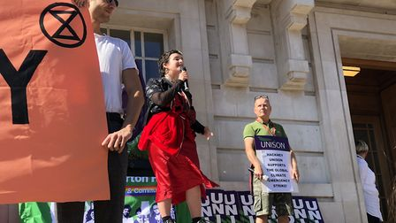 A student speaks at the climate emergency rally outside Hackney Town Hall. Picture: Emma Bartholomew