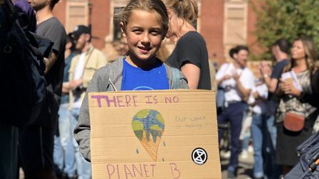 """Youngsters made banners with messages like: """"There is no Planet B"""" for the climate emergency rally o"""