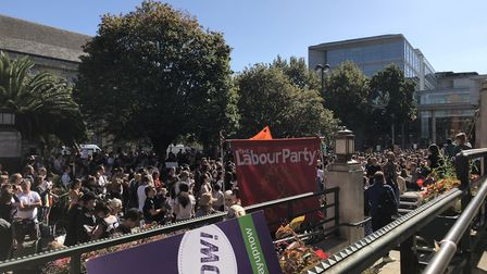 Hundreds turnd up to the climate emergency rally outside Hackney Town Hall. Picture: Emma Bartholome