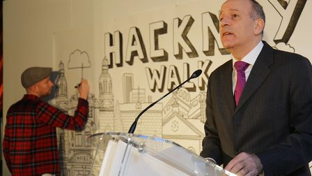 Mayor Jules Pipe at the launch of Hackney Walk in 2016. Picture: Steve Poston