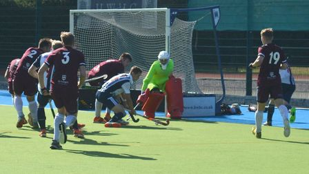Sam French scores for Hampstead & Westminster against Old Georgians (pic Iain McAuslan)
